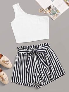 Shein One Shoulder Crop Top With Striped Paperbag Waist Belted Shorts shorts shorts shorts shorts outfits shorts Cute Lazy Outfits, Crop Top Outfits, Mode Outfits, Pretty Outfits, Stylish Outfits, Tumblr Outfits, Girly Outfits, Beautiful Outfits, Girls Fashion Clothes
