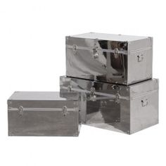 Part of our new metallic range for only £399 and free delivery. Set of 3 Stainless Steel Trunks