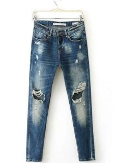 USD$ 23.99 Perfect Multi Color All-matched Ripped Jeans : tidestore.com