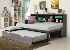 Black and Silver Renell Twin Bed with Trundle and Bookcase by Acme Furniture