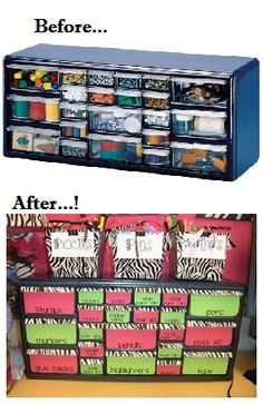 Great Stack On 22 Drawer Storage Cabinet From Lowes...decorated With Scrapbook