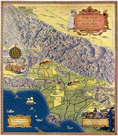 The Old Spanish and Mexican Ranchos of Los Angeles County : Map Archival Quality Art Print Suitable for Framing Bedroom Art, Bedroom Themes, Paris Wall Art, County Map, Amazon Image, Compass Rose, Poster Prints, Art Prints, Los Angeles County