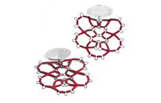 Red Steel Lace Earrings by Sarah Holden