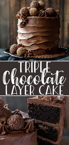 Chocolate Cake is the ULTIMATE dessert for chocoholics Three layers of deep dark chocolate cake are filled with chocolate ganache then decorated with fluffy homemade choc. Dark Chocolate Cakes, Homemade Chocolate, Chocolate Desserts, Chocolate Cake Decorated, Triple Layer Chocolate Cake, Ultimate Chocolate Cake, Chocolate Truffle Cake, Deep Dark Chocolate Cake Recipe, Chocolate Cake Fillings