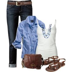 Casual Outfit: Denim and brown leather