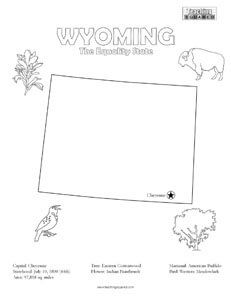 Wyoming Coloring Page And State Facts Coloring Pages For Kids