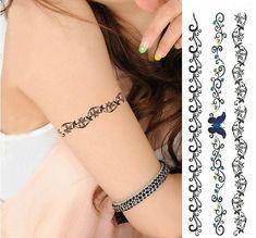 Arm Beautiful Lace Bracelet Style Tattoo Temporary Sticker Set for . Cool Wrist Tattoos, Mom Tattoos, Fake Tattoos, Body Art Tattoos, Tattos, Lace Bracelet, Tattoo Bracelet, Ankle Bracelets, Mom Daughter Tattoos