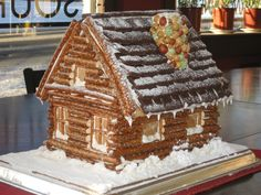 Log cabin using pretzels