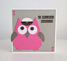 annan aarteet: ei pöllömpi suoritus eli pöllö-aiheiset yo-kortit Hobbies And Crafts, Diy And Crafts, Make Happy, Envelope, Funny Quotes, Owl, Scrap, Gift Wrapping, Cute
