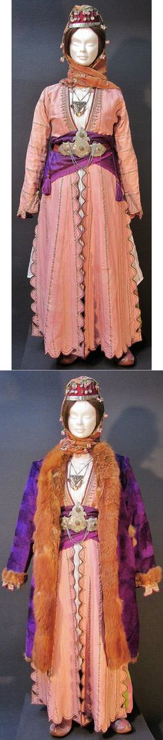 A traditional festive costume from the Konya province. Late-Ottoman urban fashion, end of 19th century. With garments and jewelry from 1875-1900, or earlier. Top picture: 'summer' costume; bottom picture: 'winter' (cold weather) costume. (Kavak Costume Collection - Antwerpen/Belgium).