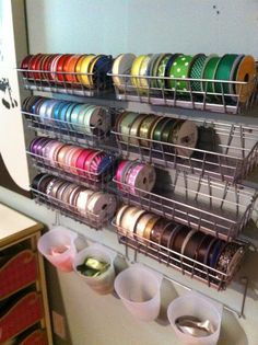Craft Organization {A Sneak Peek!} Great idea for ribbon storage! They have so many inexpensive craft storage items there. I especially like to browse the kitchen section and use item there in different ways. Ribbon Organization, Ribbon Storage, Sewing Room Organization, Craft Room Storage, Storage Baskets, Wire Baskets, Craft Rooms, Organization Ideas, Storage Ideas