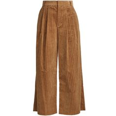 Muveil Wide-leg cropped cotton-corduroy trousers ($310) ❤ liked on Polyvore featuring pants, capris, trousers, camel, high waisted wide leg trousers, wide leg pants, cotton pants, wide leg cropped pants and high waisted crop pants