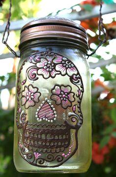 Mason Jar Solar light, Day of the Dead Sugar Skull, Sun Jar, Yellow tinted glass canning jar, Moroccan Style Lantern