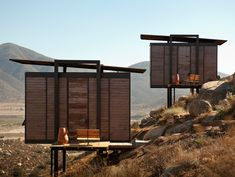 Tiny houses perched on stilts. 212 sq. ft. Endemico Resguardo Silvestre hotel in Valle de Guadalupe, Baja California - amazing panoramic view of sun, sand and surf. Click to see interior. http://www.trendir.com/house-design/beach-side-home-designs-in-baja.html