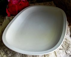 Pretty arctic white serving platter. Gift For Her. ~ Arctic white color, very chic. ~ Oval serving platter, elegant glossy finish, ribbed rim. ~ Excellent Condition: No Chips, No Cracks, No Crazing.