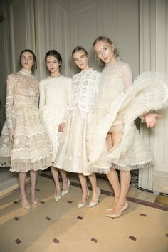Models at Valentino Haute Couture SS13 backstage