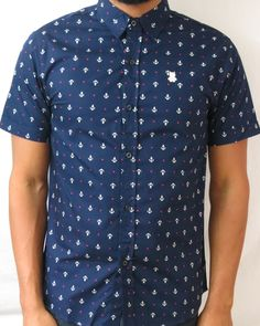 Awesome anchor and star print shirt. Navy blue with pink stars. #streetwear #fashion #guys #men #style #shirts #clothing #nautical #buttonup #starkstreetclothing #surclub1976 #jairwoo #menswear