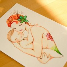 Mermaid  Mother and baby print by joojoo on Etsy, $15.00