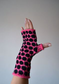 Bright Pink and Black Fingerless Gloves  Polka Dots by lyralyra, $27.00