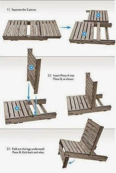 Ted's Woodworking Plans - DIY Make a chair by pallet You can easily make your own wooden chair by pallet. Just separate its two pieces, insert them one i. Get A Lifetime Of Project Ideas & Inspiration! Step By Step Woodworking Plans