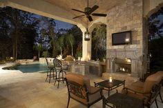 Lanai Fireplace and Pool