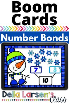 Boom Cards make a fun winter math center. Use the different colored snowflakes to complete the number bond. This snowman deck will give your kindergarten students lots of practice counting and creating sets this winter Kindergarten Math Activities, Kindergarten Classroom, Interactive Learning, Fun Learning, Number Bonds, Google Classroom, Literacy Centers, Counting, Snowflakes