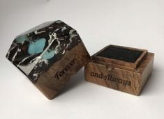 Custom engraved proposal ring box. engagement ring holder. slim. personalized wood ring box Engagement Ring Holders, Proposal Ring Box, Ring Pillow, Resin Ring, Wood Resin, Wood Rings, Handmade Items, Handmade Gifts, Custom Engraving