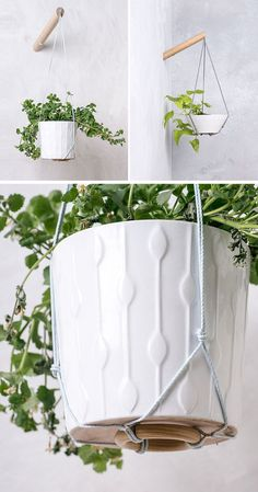 These wall planters allow you have hanging plants wherever you want them simply by attaching them to a wood pole mounted to the wall.