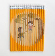 Pencil Art: using pencils as canvas (Pencil art, art with pencils as canvas) - ODDEE
