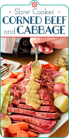 Slow Cooker Corned Beef and Cabbage! You'll love this easy Slow Cooker Corned Beef and Cabbage served straight from the pot with a dollop of whole grain mustard. Leftovers make great Reuben sandwiches! Crockpot Cabbage Recipes, Corned Beef Recipes, Slow Cooker Recipes, Cooking Recipes, Crock Pot Corned Beef And Cabbage Recipe, Keto Recipes, Slow Cooker Corned Beef, Corned Beef Brisket, Slow Cooker