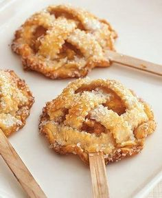 Different!  --> Peach Pie Pops:Ingredients  1/3 cup granulated sugar   2 tablespoons cornstarch   1/4 teaspoon ground cinnamon   1/8 teaspoon ground nutmeg   2 cups chopped peeled peaches (2 large)   2 boxes Pillsbury® refrigerated pie crusts, softened as directed on box   16 craft sticks (flat wooden sticks with round ends) or paper lollipop sticks   1 egg, slightly beaten   3 tablespoons white sparkling sugar