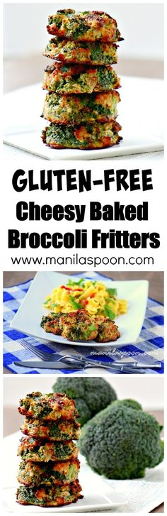 Crunchy, healthy, low-carb and completely gluten-free are these delicious Cheesy Baked Broccoli Fritters!