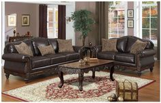 Leather sofa F7640 by Poundex