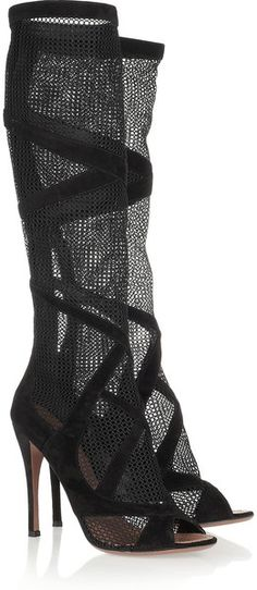 Alaia ~ Suede-Trimmed Mesh Knee Boots | cynthia reccord