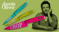 off stylish, three-piece Jamie Oliver knife set – chefs' knife, serrated paring knife & paring knife Jamie Oliver, Chef Knife, Knife Sets, Keep It Simple, Chefs, Home And Garden, Packaging, Stylish, Wrapping