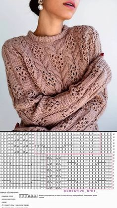 Cable Knitting Patterns, Knitting Charts, Lace Knitting, Knitting Stitches, Knitting Designs, Knit Patterns, Knit Crochet, Handgestrickte Pullover, Knit Cardigan Pattern