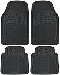 BDK Heavy Duty 4pc Front & Rear Rubber Floor Mats for Car SUV Van & Truck – All Weather Protection Universal Fit