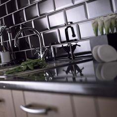 Ceramic Blackfriars Black Tiles from the Mini Metro Tiles range by Urban Chic - White Wall Tiles, Black Tiles, Kitchen Splashback Tiles, Backsplash, Wall Tile Adhesive, Black Brick, Metro Tiles, U Bahn, Decoration