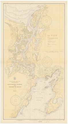 """Gloucester Harbor & Annisquam River, Massachusetts - 1931 Nautical Map - Reprint Harbors 233. An historic nautical chart of Gloucester Harbor and Annisquam River, Massachusetts published in 1931 by the U.S. Coast & Geodetic Survey. It shows topography, water depths in fathoms, and nautical features. Original size: 25"""" x 45"""" We offer this map reprint in multiple sizes - and the smallest size may be a bit hard to read. Printed in color on high quality bond paper and also available on canvas."""