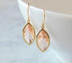 Gift Peach earrings Peach wedding jewelry by EllaRuthDesign