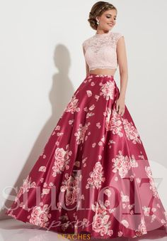 Rose Wine Pink Two-Piece Prom Dress with Print - Hoco Shirts - ideas of Hoco Shirts - Shop two-piece pink prom dresses at PromGirl. Rose wine ball gowns with high-necks lace tops and floor-length floral-print a-line satin skirts. Prom Dresses Two Piece, Grad Dresses, Homecoming Dresses, Formal Dresses, Dress Prom, Pink Dresses, Floral Prom Dresses, Prom Gowns, Quinceanera Dresses