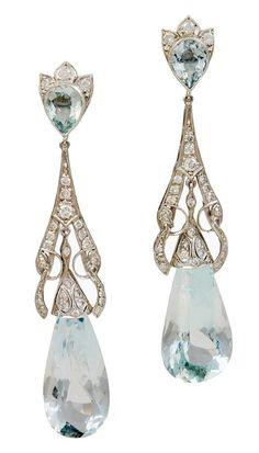 Art Deco Diamond Aquamarine Teardrop Earrings, set in platinum, 1920s