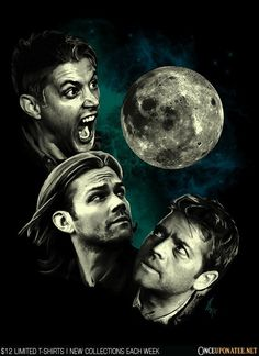 Three Super Moon by Tracy Gurney is available this week only as a T-Shirt, Hoodie, Phone Case, and more! Available until 7/13 at OnceUponaTee.net starting at $12! #Supernatural #Winchesters