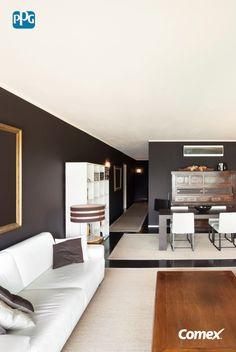 Si lo que buscas es crear un ambiente elegante y sofisticado, los colores blanco y negro, naturalmente opuestos pero extraordinariamente complementarios, son la combinación ideal. #ComexTips #Home #Ideas #Deco #DIY #Comex #Livingroom #Inspiration #BlackandWhite #Elegance