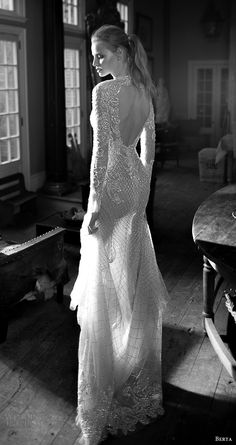 berta bridal fall 2016 long sleeves queen anne neckline fully beaded trumpet wedding dress (16 113) bv keyhole train