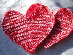 Red and Pink Heart Pot Holders Valentines by crochetedbycharlene