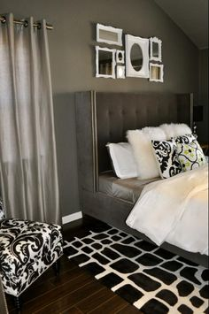 If you want to get some ideas as to what you can do with a gray bedroom with accent wall in terms of interior design, here are some ideas that you might want to consider. We hope that can help you… Gray Bedroom, Bedroom Bed, Bedroom Colors, Master Bedroom, Bedroom Decor, Bedroom Ideas, Trendy Bedroom, Bedroom Inspiration, Interior Desing