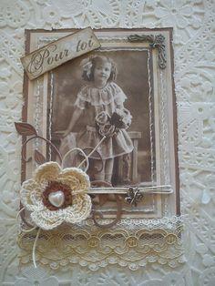 carte fleur au crochet