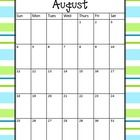 *FREE* These calendars run for the 2013-2014 school year (August to July). Each calendar has a blue and green stripe background. They are full page calend...