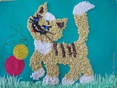 Cottonl Cat - easy crafts to make with balls from napkins Crepe Paper Crafts, Paper Plate Crafts, Easy Crafts To Make, Crafts For Kids, Arts And Crafts, Seed Craft, Egg Shell Art, Cotton Crafts, Quilling 3d